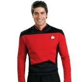 Star Trek Next Generation - Red Shirt Deluxe Adult Costume Red is the Star Trek Next Generation color for captains and first officers such as Jean Luc Picard and William Riker. This Star Trek Next Generation - Red Shirt Deluxe Adult Costume includes the b