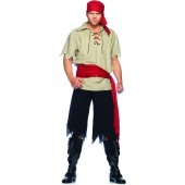 Cut Throat Pirate Adult Costume Getting the ladies will be a breeze when you sail the seven seas in this intimating ensemble which includes a cream colored shirt with lace up detail, tattered pants, blood red waist sash and a matching head scarf.