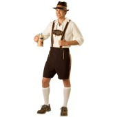 Bavarian Guy Adult Costume Sit back, relax, and kick back a few in this Bavarian Guy Adult Costume which includes a pair of chestnut brown lederhosen with beige accents and a Bavarian screen print across the chest, matching hat, ¾ sleeve lace up pullover