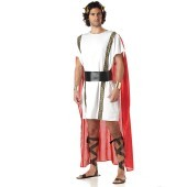 Marc Antony Adult Costume A strong warrior that will win the heart of his true love! Includes a white tunic with gold & black details and attached red cape, gold cuffs, black belt and gold leaf headband.