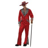 Pimp Red Crushed Velvet Adult Costume This pimped-out ensemble includes a Red crushed velvet jacket with zebra-print accents (collar, pockets and cuffs), and matching flared pants and hat. Have your buddy wear our Pimp Purple Crushed Velvet Adult costume