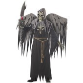Angel of Death Adult Costume This angel will not be taking you to heaven, oh no this angel has other plans for your future and they head down south to a much warmer climate than you bargained for. In this black robe with skeleton chest, braided straw wais