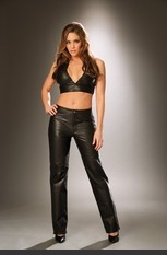 Leather Zip Up and Snap Pants Leather pants w/ zipper front & snap closure.