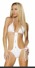 The Sexy & Sizzling Monokini Sexy Lingerie for Women, Sexy Costumes, Plus Size Lingerie, Panties, Corsets, Bustiers, Teddies, Babydolls, Lingerie and More. 1Pc Tie Side Monokini w/Adjusted Top & R.Stones