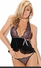Secret Romance Cami Set Rainbow Lace embroidered and mesh halter tie neck with ribbons beadking bow accent 2 tiered cami, matching cotton crotch g-string.Sexy Lingerie for Women, Sexy Costumes, Plus Size Lingerie, Panties, Corsets, Bustiers, Teddies, Baby