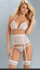 Sweet Princess 3 PC Set Embroidered lace triangle bra with matching garterbelt and t-back thong. Includes hose. Sexy Lingerie for Women, Sexy Costumes, Plus Size Lingerie, Panties, Corsets, Bustiers, Teddies, Babydolls and more.