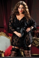 Plus Size Paisley Pleasure Paisley Lace Robe Plus Size Paisley Pleasure Paisley lace robe, mesh ruffle trim, butterfly sleeves and satin tie sash Sexy Lingerie for Women, Sexy Costumes, Lingerie, Corsets, Bustiers, Babydolls, Chemise, Robes and more.