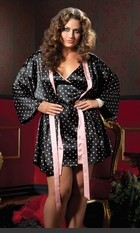 lus Size Peggie Luxurious Robe Set Two piece set: Polka dot satin chemise, criss-cross adjustable back tie, low scoop back and satin robe with sash. Sexy Lingerie for Women, Sexy Costumes, Plus Size Lingerie, Panties, Corsets, Bustiers, Teddies, Babydolls