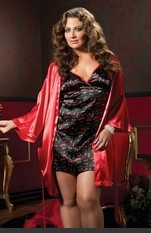 Plus Size Beverly Luxurious Robe Set Two piece set: Cherry Print satin chemise, criss-cross adjustable back tie, low scoop back and satin robe with sash. Sexy Lingerie for Women, Sexy Costumes, Plus Size Lingerie, Panties, Corsets, Bustiers, Teddies, Baby