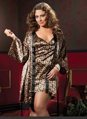 Plus Size Classic Pinup Luxurious Robe Set Two piece set: Leopard Print satin chemise, criss-cross adjustable back tie, low scoop back and satin robe with sash. Sexy Lingerie for Women, Sexy Costumes, Plus Size Lingerie, Panties, Corsets, Bustiers, Teddie