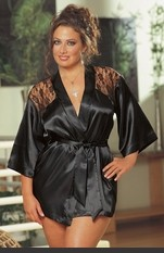 Plus Size Lace Intrigue Robe Set Charmeuse sleepwear robe with plunging back lace detail and matching g-string. Includes matching padded lingerie hanger. Sexy Lingerie for Women, Costume, Bra, Panties, sleeepwear, corsets, bodysuits, teddies, robes and mo