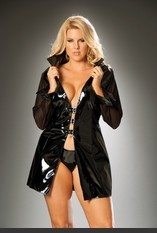 Plus Size Vinyl Long Sleeve Jacket Plus size vinyl long sleeve jacket with buckle front and mesh sleeves. Sexy Lingerie for Women, Costume, Bra, Panties, sleeepwear, corsets, bodysuits, teddies, robes and more.