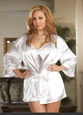 Plus Size Shalimar Charmeuse Robe Set Charmeuse low back sleepwear babydoll and matching robe with attached belt. Sexy Lingerie for Women, Costume, Bra, Panties, sleeepwear, corsets, bodysuits, teddies, robes and more.