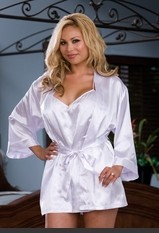 "Plus Size Yours Truly Bride Set Plus Size Charmeuse robe set with attached belt and ""Bride"" silver heat transfer on back, and includes matching babydoll with adjustable low back and padded lingerie hanger. Adult Costumes - Hot Selection of Sexy Adult Cost"