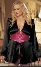Plus Size Don't Bother To Knock Robe Plus Size. With contrasting waistband, bow tie back sash and our Marilyn signature rhinestone buttons at front. Includes G-string. Sexy Lingerie for Women, Sexy Costumes, Plus Size Lingerie, Panties, Corsets, Bustiers,