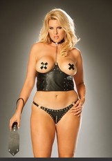 Plus Size Naughtly Cupless Chain Top Leather cupless chain top w/ nail heads. Lycra back. Sexy Lingerie for Women, Costume, Bra, Panties, sleeepwear, corsets, bodysuits, teddies, robes and more.