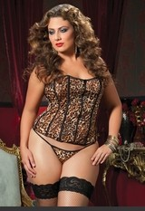 Plus Size Basic Instinct Leopard Corset Leopard print microfiber corset, zipper front, lace-up back, boning, removable garters and thong. Sexy Lingerie for Women, Sexy Costumes, Plus Size Lingerie, Panties, Corsets, Bustiers, Teddies, Babydolls and more.
