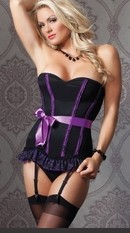 Plus Size Sexy Purple Seduction Corset Plus Size Powernet over lycra corset with ruffled lace over mesh hem and center back hook & eye closure. Fully boned with floral print lace over lycra covers, featuring a ribbon sash and removable straps and garters.