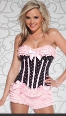 Plus Size Taste Of Sweet Polka Dot Corset Plus Size Polka dot mesh halter corset with padded cups and lycra covered boning. Mesh ruffled trim detail and center back hook & eye closure. Featuring removable garters, satin bows and optional halter straps. Se