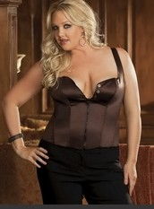 Plus Size Sexy Reversible Corset Plus Size Satin and spandex corset top has built up straps, reversible zipper front and buttons that you button up or fold down for a sexier look.