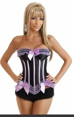 "Plus Size ""Pretty Little Things"" Burlesque Corset Plus Size Strapless corset with underwire cups trimmed in purple lace with side zipper closure, lace-up back and matching thong. Ruffle panty sold separately."