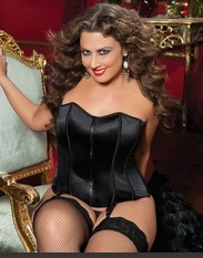 Plus Size Perfectly Polished Corset Zip front lace- up back corset with boning and thong. with more beautiful looking just princes of romance world and attracting everything towards her.