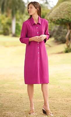 Button-Front Linenweave Shirtdress Simple yet chic, this women's timeless silhouette shirtdress is refined in our distinctive Orvis Linenweave. Completely comfortable and versatile, it is detailed with tonal embroidery on the bodice. Front button closure.