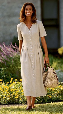 Orvis Linenweave Dress  Specially stitched with shaping bodice tucks that gently open as soft pleats below the waist. Our unique Linenweave combines the texture of linen with the silky drape of rayon. Button front with ocean pearl buttons, high V-neckline