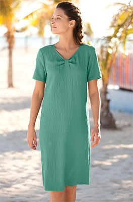 Scrunch Cloth Tee Dress  A simple pullover V-neck tee shirt dress in our customers' favorite fabric. Cool and crinkled in our signature blend with an effortless, slightly boxy shape. Perfect for the beach, running errands, or lunch out, it features a cent