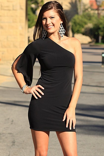 This is the sexiest one shoulder dress you will ever own!  Made from our soft and body loving Jersey fabric, the short cut, body hugging fit and sassy slit sleave will make you look amazing.  92% Poly and 8% Spandex.
