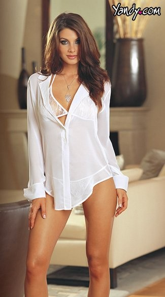 Chiffon sleepwear robe with shirt style detailed collar, French cuffs, shirt tail hem and button closure with matching lace sleepwear halter bra top and thong. Comes on a matching, charmeuse, padded lingerie hanger. Back of shirt is slightly shorter than