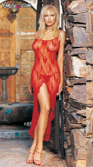 Butterfly Lace Long Gown w/ Split Front, Matching G-String also included