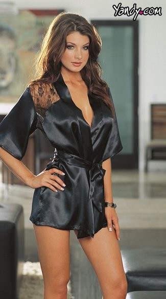 Charmeuse sleepwear robe with plunging back, lace detail and matching g-string with matching padded lingerie hanger.