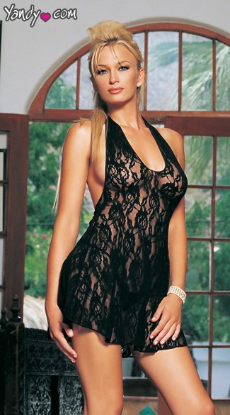 Lace Dress with Halter Top and Flowy Skirt. Panty not included.