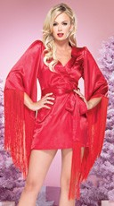 The Hollywood glamour kimono is made of satin and has an extra long fringe trim.