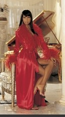 Hollywood Glam Charmeuse Feather Long Dressing Gown