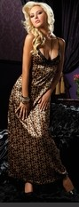 Floor length leopard print gown with lace trim triangle cup and empire elastic gathering.
