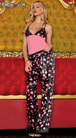 Sweet and silky, heart print, satin and mesh camisole with lace trim, adjustable straps and matching, heart print satin drawstring pants.