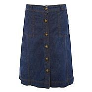 Embrace a feminine and retro look in this blue button through denim skirt from Casual Collection. The A-line cut gives you a flattering fit, as the stitch detailing accents the shape of the skirt perfectly, making this a truly fabulous piece that you can'
