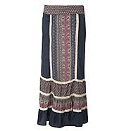 A light and feminine day wear staple this navy panelled maxi skirt from Red Herring is made from soft-touch cotton fabric and features a snug-fitting broadly elasticised waist and cream lace trims detailing.