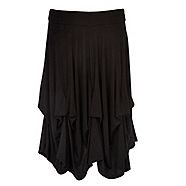 An edgy and comfortable day wear staple this black hitch-up skirt from Rocha. John Rocha is made from soft-touch jersey fabric and features a snug-fitting elasticated waistband and cascading ruffles where the skirt is 'hitched' up and stitched in place