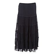 Layer on the designer style with this navy tiered maxi skirt from Betty Jackson. Black. The sophisticated skirt is completed with a grosgrain ribbon trim and a comfortable and flexible elasticated waistband.