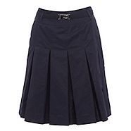 An essential addition to any wardrobe, this stylish dark blue skirt features an attractive inverted pleat design with eye catching silver buckle detail at the waist.