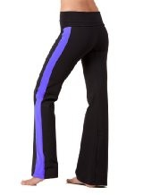 The perfect active pant for workout or yoga. Body skimming with a bit of flare at the bottom of the leg. (Great for Zumba too!)      * Made with our super soft, durable Nylon/Lycra fabric.     * Super comfy foldover waistband stays where you put it. No mu