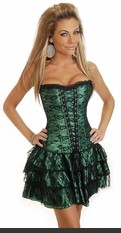 Strapless 2 pc corset dress with side zipper and lace-up back corset top, matching thong and matching ruffled skirt.