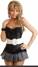 Strapless Corset with side closure, lace-up back and matching thong. Comes with removable white patent stretch belt and pleated mini skirt.