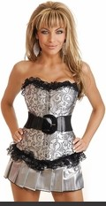 Strapless Corset with front busk closure, lace-up back and matching thong. Comes with removable black patent stretch belt and pleated mini skirt.