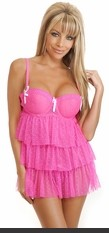 Underwire babydoll with adjustable straps, hook & eye back closure and matching thong.