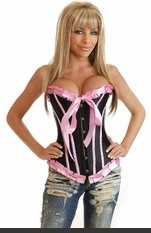 Lingerie for Women, Sexy Costumes, Bra, Panties, sleepwear, corsets, Bustier, teddies, robes and more.Strapless corset with front busk closure, lace-up back and matching thong.