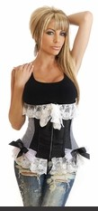 Underbust corset featuring lace trim, rhinestone embellished zipper front closure, lace-up back and matching thong.